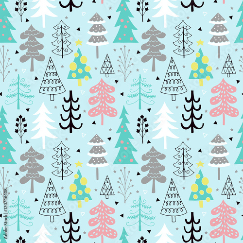 Cotton fabric Christmas tree seamless pattern background design with hand draw