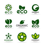 Eco food, organic products and ecology. Set of logo design elements (17)