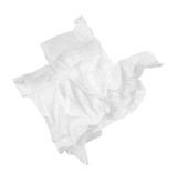 crumpled paper napkin in the form of a duck on an isolated white