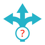 Strategic planning or decision making concept with direction arrow sign.