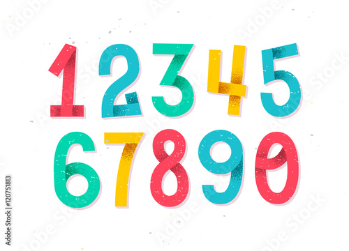 Colorful set of hand drawn numbers isolated on white, folded pap