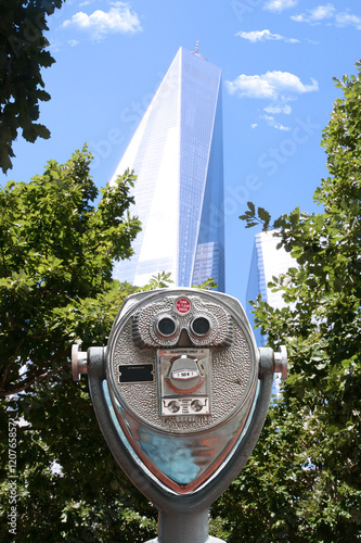 Binoculars point of view in front of One World Trade Center, Manhattan New York Poster