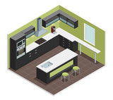 Modern Kitchen Isometric View Image