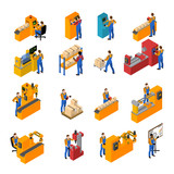 Factory Workers Icons Set
