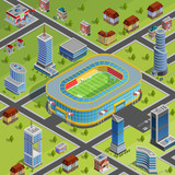 Sport Stadium City Isometric Poster