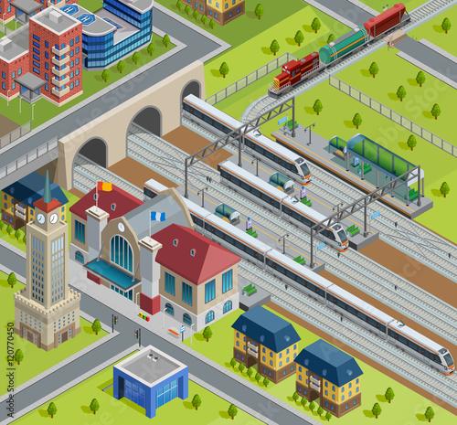 Foto op Plexiglas Op straat Train Railway Station Isometric Poster