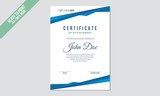Certificate decorated template with blue shapes and indigo lines vector