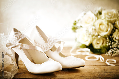 White Bridal Shoes with Bouquet and Lace Veil