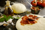 Ingredients for a delicious homemade Italian pizza