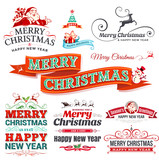 Vector set of vintage Christmas labels, badges and banners with Santa Claus, present, tree, sleigh and reindeers illustrations in retro style. Set of  typographic decorative design elements.
