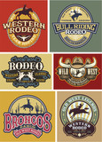 Wild West rodeo badges collection, vector artwork for t shirt print, labels,  stickers and others.