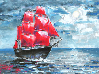 Scarlet sails, oil painting. Ship in ocean. Celebration in St. Petersburg, illustration on the novel