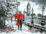 Fototapety oil painting, street view of london. Artwork, Black, white and red, big ben