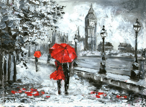 oil painting, street view of london. Artwork, Black, white and red, big ben © lisima