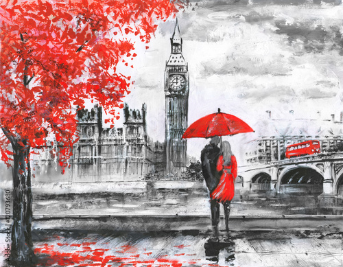 .oil painting on canvas, street view of london, river and bus on bridge. Artwork. Big ben. man and woman under a red umbrella
