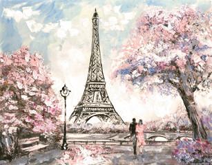 Fototapeta romantyczny Paryż z wieżą Eiffla