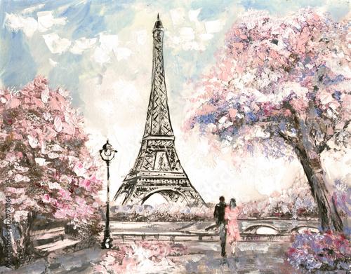 Oil Painting, Street View of Paris. Tender landscape, spring - 120793864