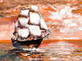 Ship in ocean with white sails, oil painting. sunset