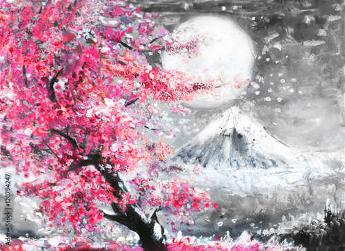 oil painting landscape with sakura and mountain, hand drawn illustration, Japan © lisima