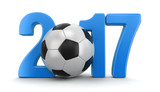 Soccer football with 2017. Image with clipping path