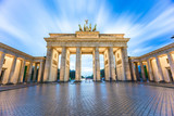 The long exposure view of Brandenburg Gate in Berlin, Germany