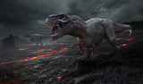 Fototapety 3D rendering of the extinction of the dinosaurs.