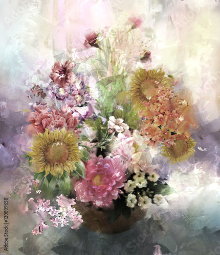 Fototapety, obrazy : Bouquet of multicolored flowers watercolor painting style
