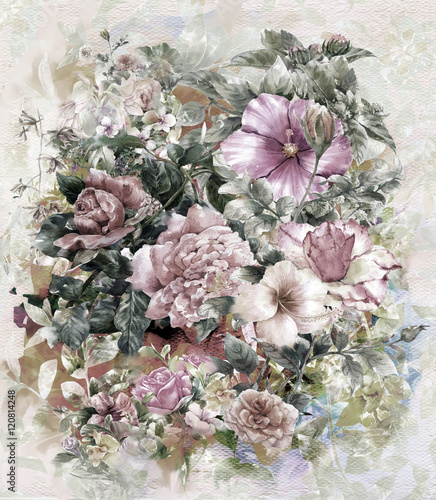 Bouquet of multicolored flowers watercolor painting style - 120814248