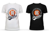Fototapety Basketball ball on u-neck t-shirt for new york college team fans. Printing on brooklyn sportswear men and women clothing for sharks amateur team. Perfectly for cloth shops advertising theme