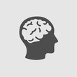 Head with brain vector icon. Simple isolated silhouette symbol.