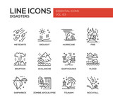 Disasters - line design icons set
