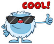 Smiling Little Yeti Cartoon Mascot Character With Sunglasses Holding A Thumb Up. Illustration Isolated On White Background With Text Cool