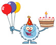 Happy Little Yeti Cartoon Mascot Character Wearing A Party Hat And Holding Balloons And A Birthday Cake. Illustration Isolated On White Background