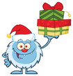 Smiling Little Yeti Cartoon Mascot Character With Santa Hat Holding Up A Gifts. Illustration Isolated On White Background