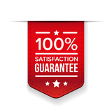 satisfaction guaranteed red ribbon vector