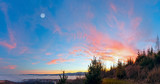 Fantastical sunset scenery over foothills.