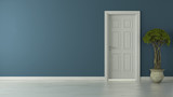 closed american door with blue wall and reflective floor - 120833622