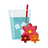 glass of water and flowers icon vector illustration