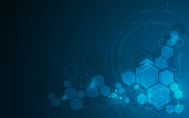 abstract molecular hexagon pattern tech sci fi design concept background