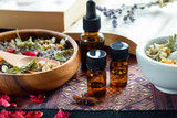 Fototapety natural apothecary with herbs and essential oils