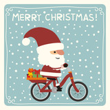 Merry Christmas. Funny Santa Claus with christmas gifts riding bicycle. Merry Christmas card.