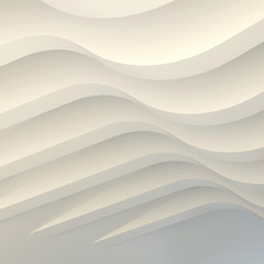 3d illustration. Three-dimensional white  composition with waves. Extruded structural curves panels in perspective. Render.