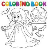 Coloring book vampire girl theme 1