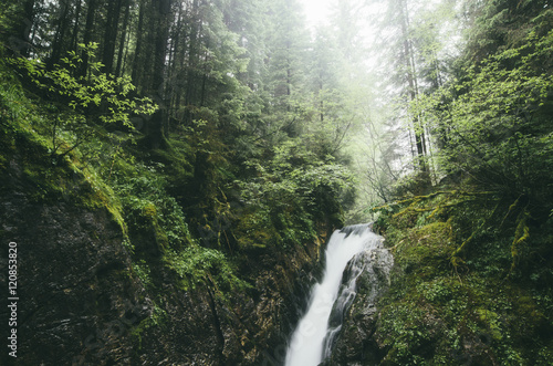 waterfall on forest stream in rain