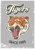 vintage grunge style of college poster of tiger head
