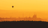 Morning over Brno - Czech Republic, Sunset over the City, Silhouette of Cathedral Petrov and Hot Air Balloon