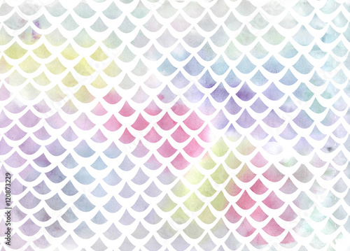 Watercolor fish scale pattern in blue and pink - 120873229