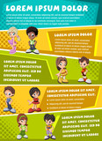 Vector brochure backgrounds with cartoon children. Infographic template design.