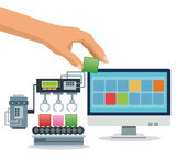 Hand with blocks and computer icon. Industry app and construction theme. Colorful design. Vector illustration