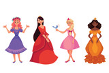 Fototapety Cute collection of beautiful princesses, cartoon vector illustration isolated in white background. Four beautiful princesses in evening gowns, black skinned and caucasian, black, red and blond hair